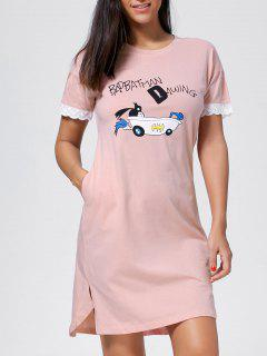 Cotton Slit Printed Night Dress - Light Pink 2xl