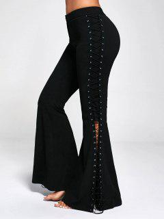 Flare Pants With Criss Cross Lace Up - Black Xl