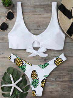 Pineapple Print Thong Bottom Bikini Set - White S