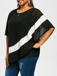 Plus Size Slant Asymmetric Flowy Chiffon Top - Black 3xl
