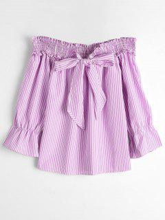 Self Tie Bowknot Striped Blouse - Pink Stripe M