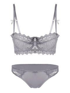 Embroidered Sheer Underwire Bra Set - Gray 75b
