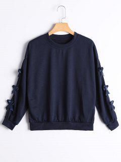 Bowknot Embelleció La Camiseta Del Hombro De La Gota - Azul Purpúreo M