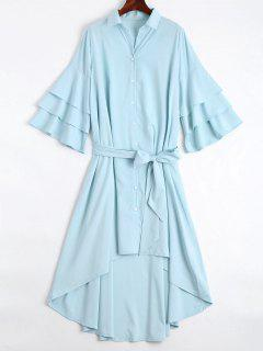 Button Up Belted Flare Sleeve Dress - Light Blue L