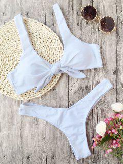 Padded Knotted Thong Bikini - White M