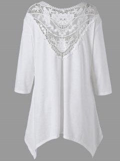 Plus Size Taschentuch Lace Panel Drop Schulter Top - Weiß 4xl