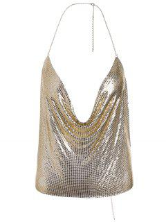 Shimmering Metal Bra Halter Body Jewelry - Golden