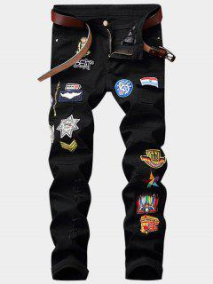 Zipper Fly Cartoon Embroidered Patch Pocket Ripped Jeans - Black 32