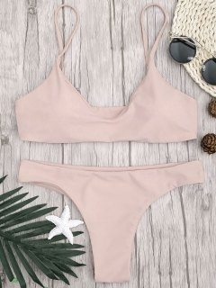 Adjustable Straps Padded Bralette Bikini Set - Pink L