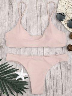 Verstellbare Riemen Gepolsterte Bralette Bikini Set - Rosa L