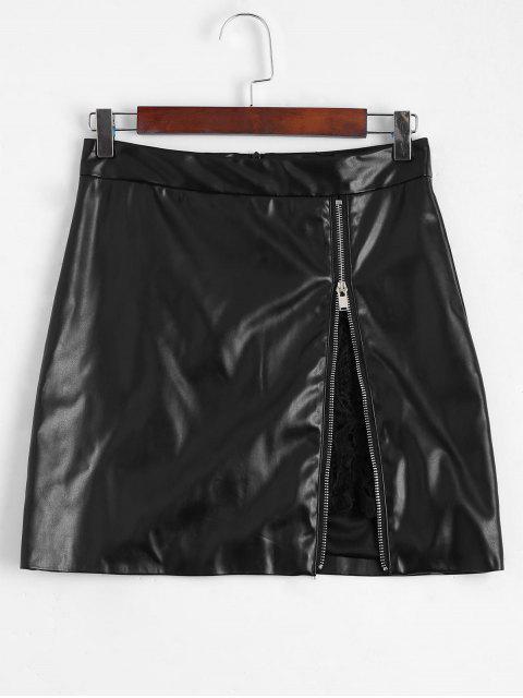 unique Zip Up Lace Panel Faux Leather Skirt - BLACK L Mobile