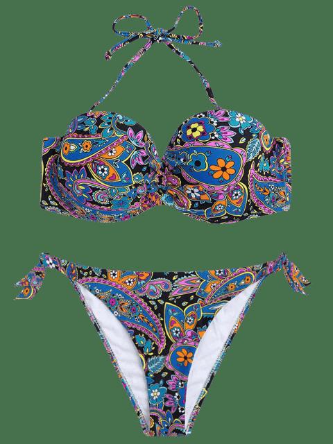 best Underwire Paisley Print Fuller Bust Bikini Set - MULTICOLOR S Mobile