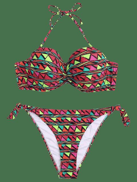 new Geo Print Underwire Fuller Bust Bikini Set - MULTICOLOR M Mobile