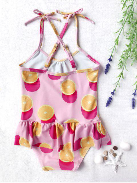 lady Bow Tie Orange Print Kids One Piece Swimsuit - PINK 5T Mobile