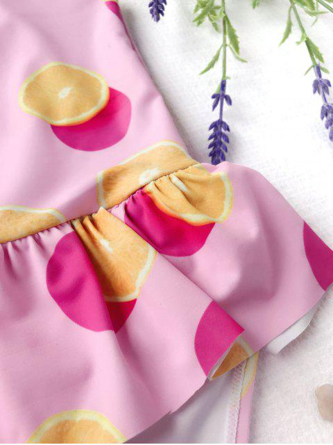 best Bow Tie Orange Print Kids One Piece Swimsuit - PINK 6T Mobile