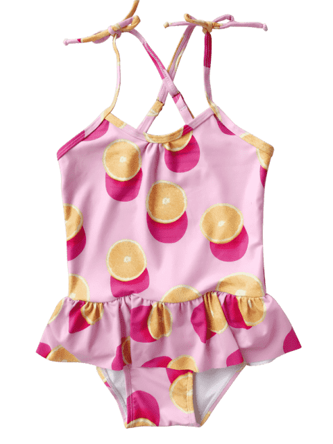 new Bow Tie Orange Print Kids One Piece Swimsuit - PINK 8T Mobile