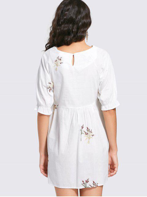 women's Embroidered Mini Shift Dress - WHITE 2XL Mobile