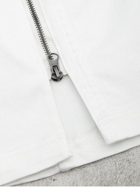 Front Slit Zip Up A Line Jupe - Blanc S Mobile