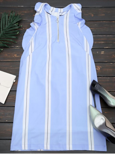 shop Half Zip Stripes Ruffles Mini Dress - STRIPE S Mobile