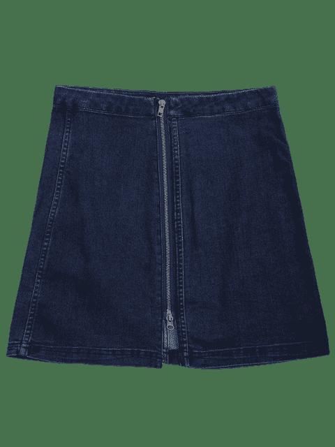 Front Slit Zip Up A Line Jupe - Bleu Foncé S Mobile