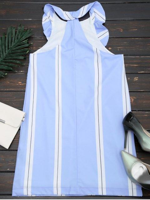 Half Zip Stripes Ruffles Mini Dress - Rayure S Mobile