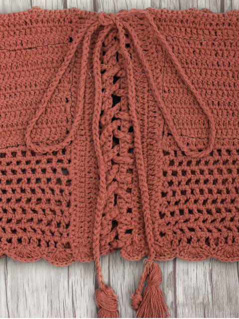 new Off Shoulder High Waisted Crochet Bikini - BRICK-RED M Mobile