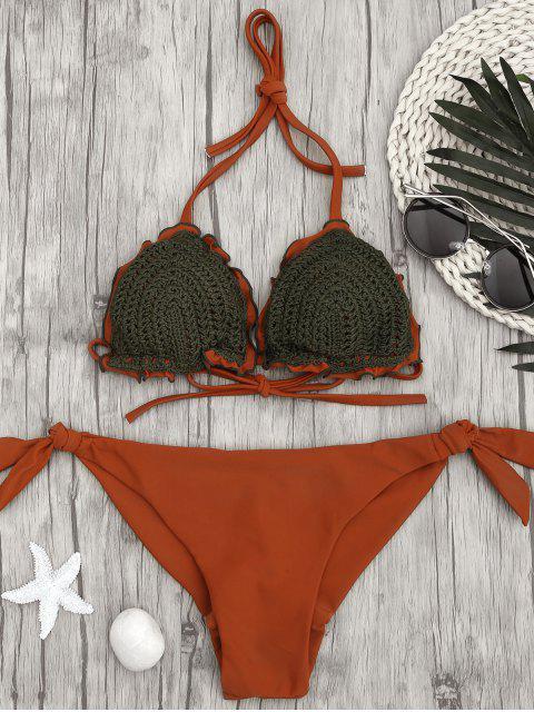 unique Two Tone Tie Side Crochet String Bikini - BRICK-RED M Mobile
