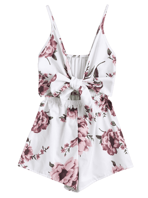 outfit Floral Print Plunge Cami Romper - FLORAL L Mobile