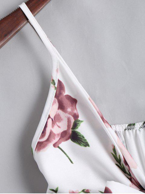 Floral Print Plunge Cami Romper - Floral 2XL Mobile