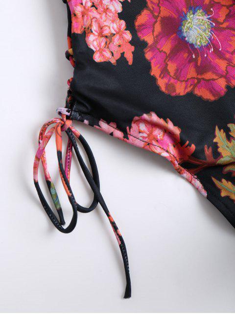 Body sexy à fleurs en dentelle - Noir L Mobile