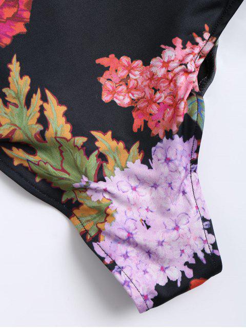 Body sexy à fleurs en dentelle - Noir S Mobile