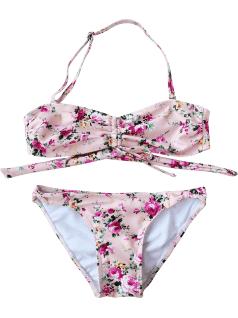 trendy Drawstring Tiny Floral Ruched Kid Bikini - FLORAL 5T Mobile