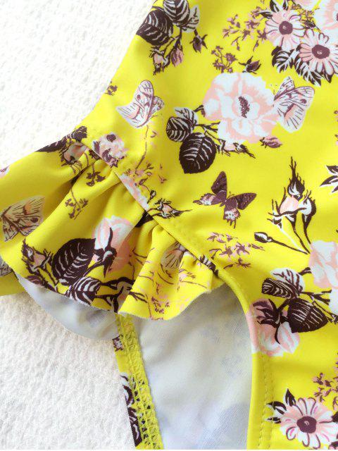 unique Scoop Floral Ruffles Kid Swimwear - YELLOW 5T Mobile
