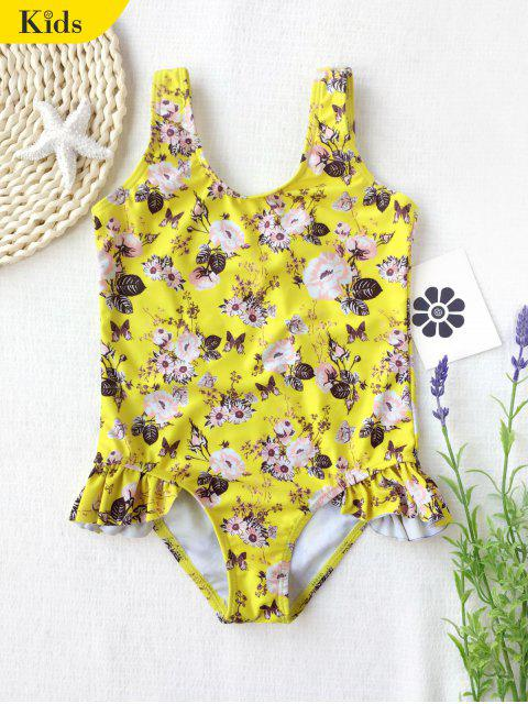 affordable Scoop Floral Ruffles Kid Swimwear - YELLOW 7T Mobile
