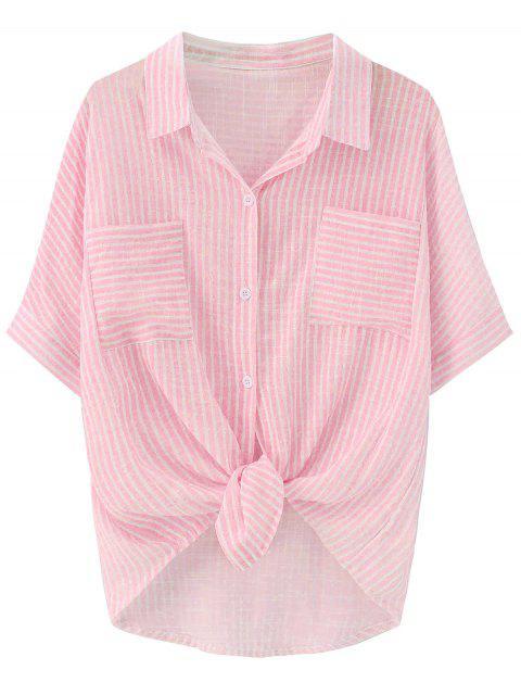 Chemise à Poche Rayée Nouée - ROSE PÂLE TAILLE MOYENNE Mobile