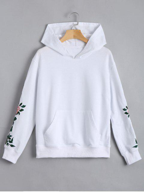 women's Floral Patched Front Pocket Hoodie - WHITE S Mobile