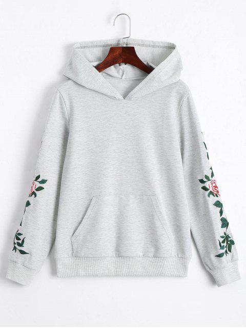 hot Floral Patched Front Pocket Hoodie - LIGHT GRAY M Mobile