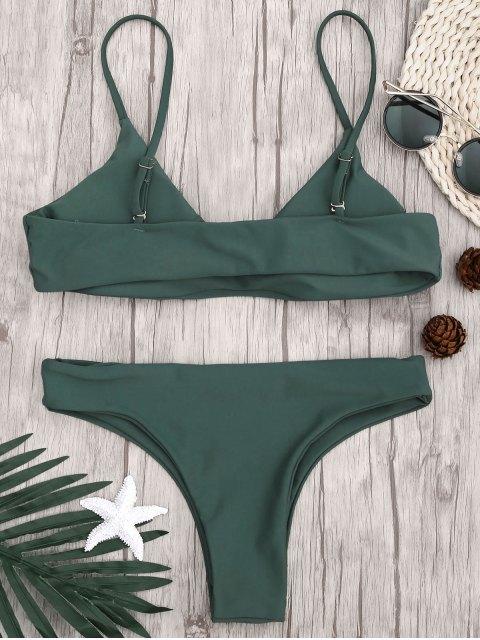 ladies Adjustable Straps Padded Bralette Bikini Set - HUNTER GREEN S Mobile