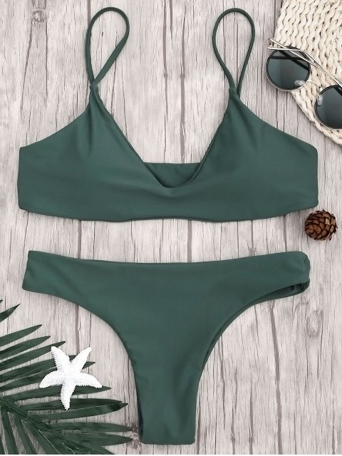 ladies Adjustable Straps Padded Bralette Bikini Set - HUNTER GREEN S Mobile