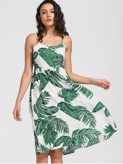 Cami Robe Imprimé à Feuilles Avec Noeud Papillon - Blanc XL Mobile