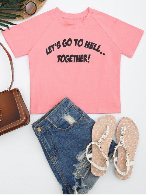 chic Cotton Cropped Letter Top - PINK M Mobile