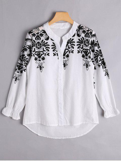 buy Button Up Floral Embroidered Blouse - WHITE XL Mobile