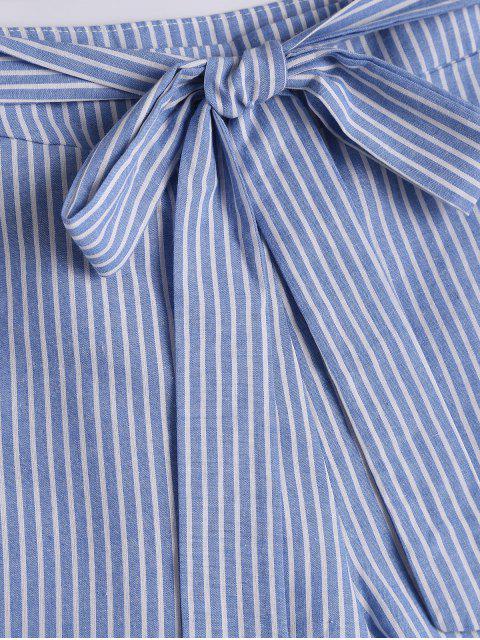 Short à rayures Bowknot à fourrure fessée - Bande Bleu S Mobile