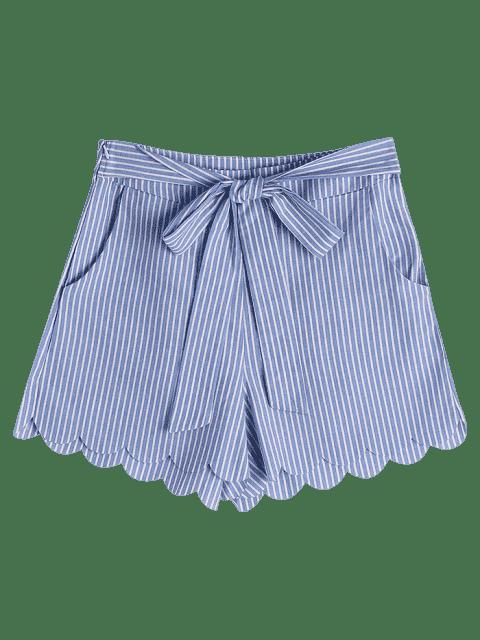 Short à rayures Bowknot à fourrure fessée - Bande Bleu XL Mobile