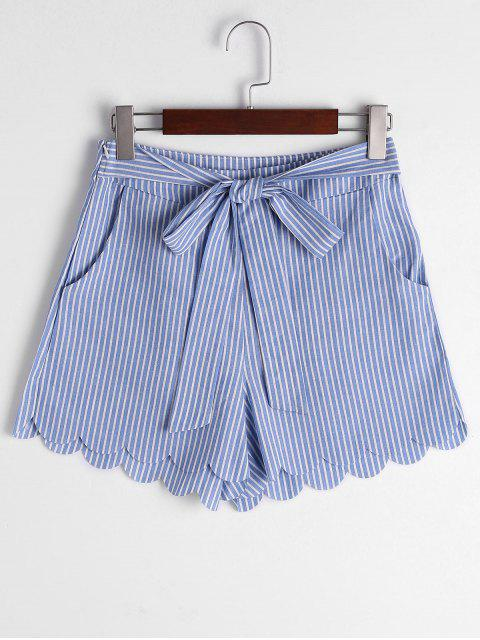 shop Scalloped Hem Bowknot Striped Shorts - BLUE STRIPE XL Mobile