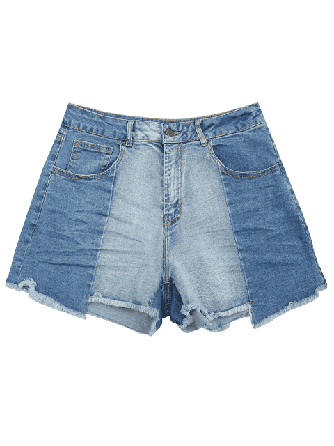 Cutoffs Asymmetrical Denim Shorts - Denim Bleu XL Mobile