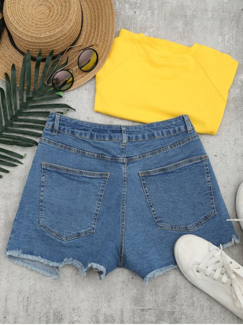 Cutoffs Asymmetrical Denim Shorts - Denim Bleu L Mobile