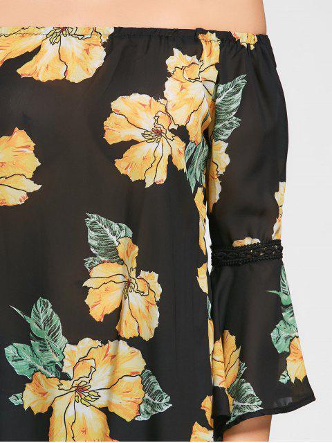 Flare Sleeve Floral Off The Shoulder Blouse - Noir M Mobile