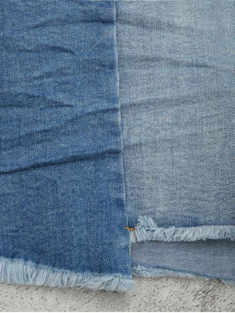 Cutoffs Asymmetrical Denim Shorts - Denim Bleu S Mobile