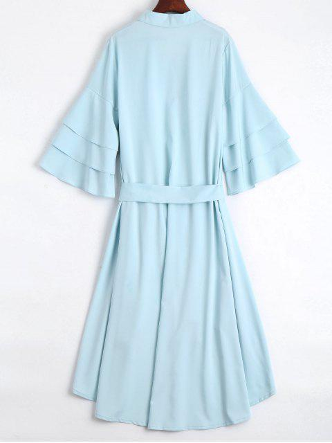 womens Button Up Belted Flare Sleeve Dress - LIGHT BLUE M Mobile
